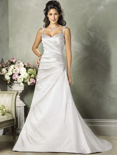 A-Line Princess Sweetheart Off the Shoulder Non-Strapless Tank Satin Wedding Dress - Style WD2255