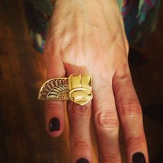 Half-winged scarab ring