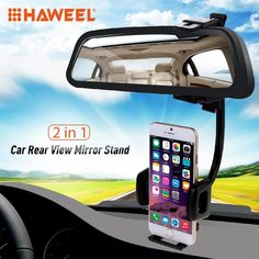 HAWEEL 2 in 1 Universal Car Rear View Mirror Stand Phone Mount Holder for iPhone Samsung and Clamp Size: 40mm-80mm smartphones //Price: $11.66//     #Gadget
