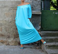 Turquoise Maxi Dress Caftan Off shoulders by cherryblossomsdress