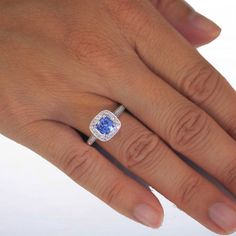 18 Karat Gold Cushion Cut Medium Blue Ceylon Sapphire Engagement Ring with Diamond Pave Halo Accents Something Blue Wedding Ring Gift