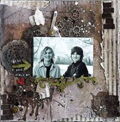 Scraps Of Darkness scrapbook kits: masculine mixed media grunge layout created w/our 'Boys will be Boys' kit, by Laura G.