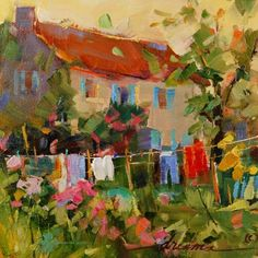 French Countryside Laundry and Girls in Paris..:, painting by artist Dreama Tolle Perry