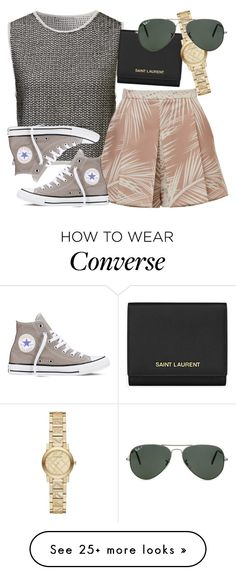 """""""Untitled #1855"""" by erinforde on Polyvore featuring moda, Converse, Yves Saint Laurent, Burberry y Ray-Ban"""