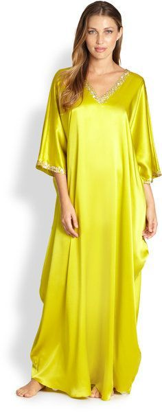 Josie Natori Lolita Caftan in Yellow Moroccan Caftan, Abaya Fashion, Fashion Dresses, Comfortable Outfits, Mode Style, African Fashion, Designer Dresses, Girl Outfits, Emo Outfits