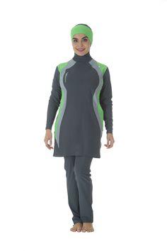 50049fd00fc Veilkini - Veilkini Water Curves full cover muslim bathing suit Gray Color  Muslim Swimwear