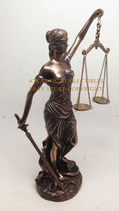 "LA JUSTICA LADY JUSTICE STATUE 12""H FIGURINE SCALES EQUALITY GREEK ROMAN DIKE"