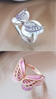 Butterflies are a universal symbol of the soul, inviting hope, love, and beauty into your life. jewelry On The Wings Of Butterflies Ring - Rhodium/Rose Gold Cute Jewelry, Bridal Jewelry, Jewelry Art, Jewelry Accessories, Jewelry Design, Women Jewelry, Butterfly Ring, Butterfly Jewelry, Fashion Rings