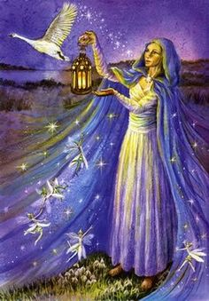 "Brigid with Snowdrop Faeries  ""Your flame held up  To light our way.  Your swan flies high to greet the day  Your Snowdrop faeries  Dance and sing.  You wake the earth  And bring the Spring."" By, Wendy Andrew"