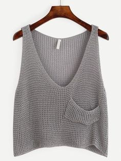 crochet tank tops Grey Knit Crop Tank Top With Front Pocket -SheIn(Sheinside) - top to do Cropped Tank Top, Crop Tank, Tank Tops, Crochet Tank, Knitted Tank Top, Outfit Essentials, Embellished Crop Top, Diy Kleidung, Summer Crop Tops