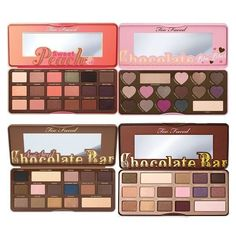 Too Faced Chocolate Bar & Semi Sweet Peach & Bon Bons Eyeshadow... ❤ liked on Polyvore featuring beauty products, makeup, eye makeup, eyeshadow, too faced cosmetics and palette eyeshadow