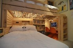 total coolness: twinkle lights under the loft bed