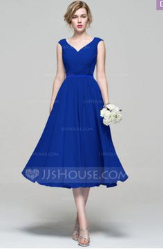 Reception Dress: Royal Blue A-Line/Princess V-neck Tea-Length Chiffon Bridesmaid Dress With Ruffle #74187