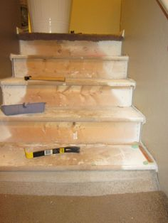 A step-by-step guide to pulling up carpet and painting your stairs!