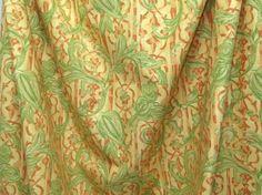 グリーンとオレンジ系の生地の明るい色合いに、緑の草花が描かれている生地です。レトロ調な生地♪上代価格¥4,900!がなんと、お値打ち価格での販売です♪【販売単...|ハンドメイド、手作り、手仕事品の通販・販売・購入ならCreema。