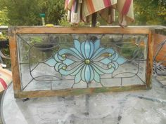 Antique Stained Glass Window Set Teal 5 Yellow Jewels Art Noveau 1890 ...