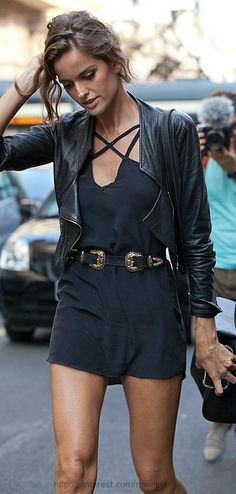 black shorts with black leather jacket - cute street style