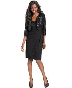 Alex Evenings Dress and Jacket, Sleeveless Sequin Ruffled - Womens Dresses - Macy's