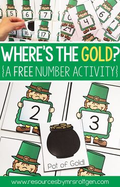 Where's the Gold? {A St. Patrick's Day Freebie} | This is a fun FREE activity that will add some St. Patrick's Day fun to your classroom! Best of all, this resource includes two versions of the activity! The purpose of the game is to hide the pot of gold behind a number (0-30), and then have the students guess where the pot of gold is by naming the number. It's great for number recognition practice! Use it today with your preschool or Kindergarten students. (kinder, kinders, homeschool, preK)
