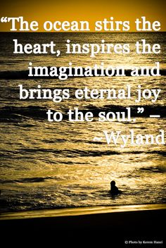 """The ocean stirs the heart, inspires the imagination and brings eternal joy to the soul."" ~ Wyland"