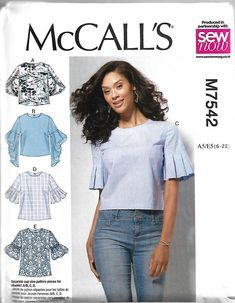 Sewing Pattern - Top Pattern - Size 8 -20 - Tops with Trumpet, Tulip, Pleated or Bubble Sleeves