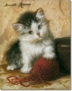 Henriette Ronner Knip (Alemania, 1821-1909). Kitten in Mischief