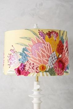 Majorcan Garden Lamp Shade, presented by Anthropologie. cotton and wool shade with crewelwork embroidery, iron frame. Garden Lamps, Crewel Embroidery, Embroidery Thread, Embroidery Alphabet, Garden Embroidery, Embroidery Patterns, Embroidery Patches, Floral Embroidery, Machine Embroidery