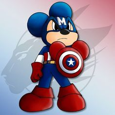 Being the one who started it all I felt he should have a leader role and why not Captain America, since he& an Icon for America, Mickey is an Icon for Disney. Art © Mickey Disney a. Disney Mickey Mouse, Walt Disney, Mickey Mouse Y Amigos, Mickey Mouse And Friends, Disney Love, Disney Magic, Disney Art, Disney Pixar, Minnie Mouse