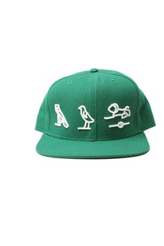 Limited edition hieroglyphics snapback in white on green. $20.00