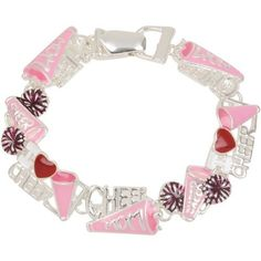 """Heirloom Finds Enamel Cheer Mom Cheerleader Magnetic Clasp Charm Bracelet . $15.99. Makes a Great Gift. Arrives Gift Boxed!. Easy to wear fold over clasp with magnetic closure. Perfect for a Cheer Mom!. Measures 7.5"""" by .5"""". Great Stocking Stuffer!. Save 47%!"""
