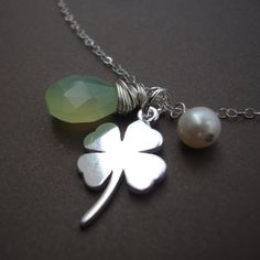 our Leaf Clover Necklace with Pearl and Chalcedony Solid Sterling Silver Multi Charm