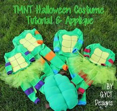 Full step by step tutorial on how to make your own Teenage Mutant Ninja Turtles costumes. Great for Halloween or just as fun pajamas all year long. Kids Ninja Turtle Costume, Girl Ninja Turtle, Teenage Mutant Ninja Turtles, Halloween Sewing, Fall Sewing, Halloween Crafts For Kids, Halloween Party, Halloween 2018, Costume Halloween