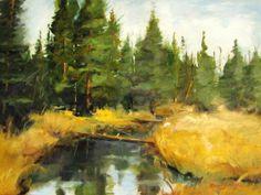 Fine Art 18x24 landscape painting Yellow Greens  by brandycattoor, $100.00 @brandycattoor