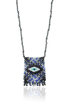 Zoe Kompitsi | Black & Blue Tartan Necklace Macrame Necklace, Tartan, Cord, Fiber, Ribbon, Necklaces, Eye, Beads, Diamond