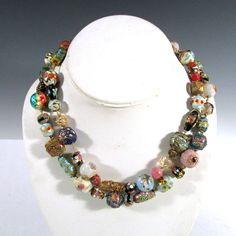 Vintage Estate Murano Venetian Glass Beaded Wedding Cake Necklace | eBay Winning bid:US $243.50
