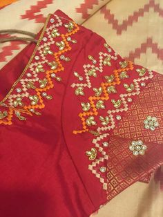 Embroidered blouse apt for Ikkat Sarees