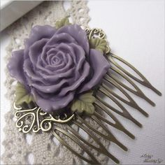 FRENCH KISS - Deep Purple Rose Cabochon/Brass Filigree Hair Comb ($15) ❤ liked on Polyvore