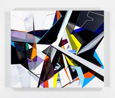 """Torben Giehler's (b1973) is known for his geometric abstractions. """"He is fascinated by virtual spaces which, even from the outset, always illustrate realities that are just possibilities – imaginary worlds floating between planning, construction, and unconstrained fiction."""""""
