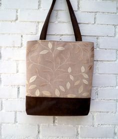 Vegan Tote bag embroidery linen  and faux brown by CheriDemeter, $39.00