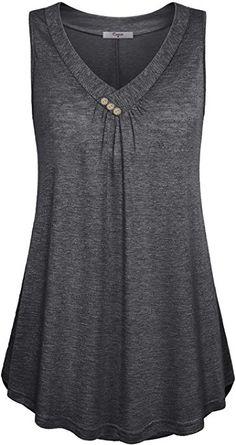 Women's Casual Button Decor Flowy Tank Tops Basic Sleeveless V Neck Tunic Top Blouse Plus Size Tank Tops, Tunic Tank Tops, Summer Tank Tops, Short, Shirt Style, Fashion Outfits, Fashion Site, Men Fashion, Blouse