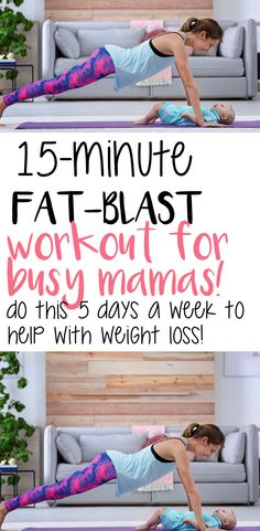 Fat Blast Workout for Busy Mamas I CAN DO THIS! workout just for busy mamas to help you lose the baby weight! 15 Min Workout, Pilates Workout, Workout Videos, Pop Pilates, Pilates Yoga, Yoga Videos, Hiit, Baby Weight Workout, Post Baby Workout