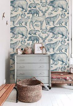 Forest animals removable wallpaper blue and beige Fun wallpaper! The post Forest animals removable wallpaper blue and beige appeared first on Sovrum Diy. Nursery Wallpaper, Animal Wallpaper, Boys Room Wallpaper, Children Wallpaper, Forest Wallpaper, Wallpaper Childrens Room, Office Wallpaper, Childrens Rooms, Kindergarten Wallpaper