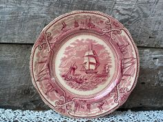 """Masons American Marine Red Transferware Nautical Dinner Plate - 10"""""""