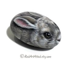 Pretty rabbit  hand-painted with acrylics on natural stone by RockArtAttack!