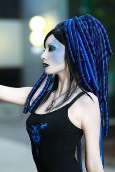 MISSynthetic Blue Star cyber girl black blue cyberlox cybergoth goth cyberpop cyberpunk makeup piercings