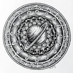 Saturnus mandala Dotwork: ink on paper 14cm × 14cm  2017