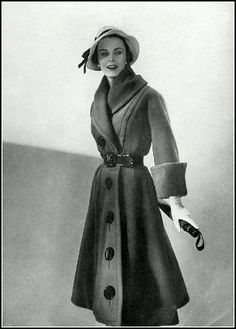 Jackie Stoloff in soft wool coat, belted with shawl collar, large buttons and wide cuffs by Jacques Fath, photo by Georges Saad, 1951 Vintage Fashion 1950s, Vintage Mode, Retro Fashion, Trendy Fashion, Fashion Models, Vintage Ladies, Fashion Outfits, 50s Vintage, Fashion Brands