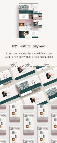 The ENTHUSIAST Wix Website Template is a feminine, natural layout design, with beautiful features to make it stand out. It's perfect for any service-based entrepreneur, freelancer or side-hustler. If you also sell products or courses, you can easily add e-commerce to your site. This template is entirely customizable! Just swap out colors, fonts, and add your logo! Brand Identity Design, Brand Design, Branding Process, Business Checks, Business Journal, Starting Your Own Business, Business Management, Personal Branding, Website Template