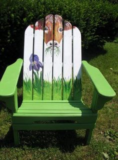 The Grass is Always Greener Acrylic on wood adirondack chair by susan e. Whimsical Painted Furniture, Hand Painted Chairs, Hand Painted Furniture, Painted Dressers, Old Chairs, Deck Chairs, Outdoor Chairs, Wooden Lawn Chairs, Wood Adirondack Chairs