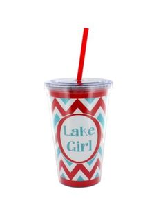 """Red and Turquoise Chevron """"Lake Girl"""" 16 oz. Double Wall Tumbler with Straw"""